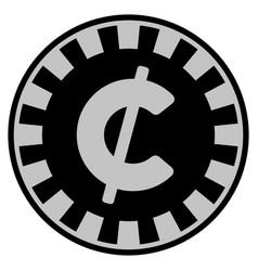 Cent black casino chip vector