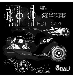 Chalk of soccer ball and elements vector