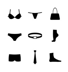 Collection of silhouettes of underware and vector