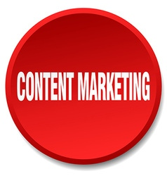 Content marketing red round flat isolated push vector