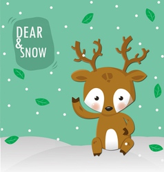 Dear and white snow vector