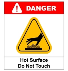 do not touch hot surface danger signs vector image vector image