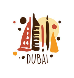 dubai tourism logo template hand drawn vector image vector image
