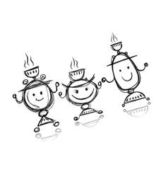 Funny samovar sketch for your design vector image vector image