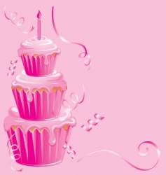 girls 1st birthday cupcake vector image