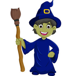 halloween ugly witch with a hat and broom vector image