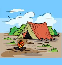 hiking camping outdoor recreation concept with vector image vector image