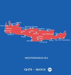 island of crete in greece red map vector image vector image