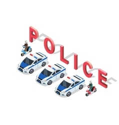 Isometric 3D Police Car vector image