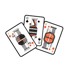 Jack queen and king poker cards hand vector