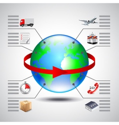 Logistics infographics with earth globe red arrow vector image