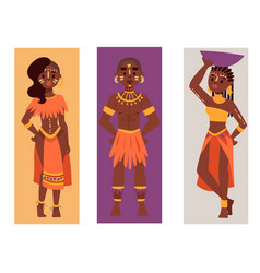 Maasai african people cards in traditional vector