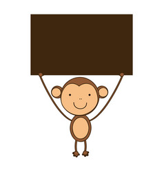 Monkey with a wood in the hand icon vector