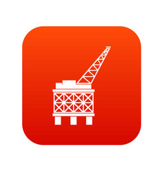Oil platform icon digital red vector