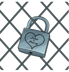 padlock with heart pop art vector image vector image