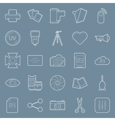 Photo equipment end editing thin lines icons set vector