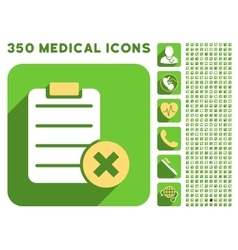 Reject form icon and medical longshadow icon set vector