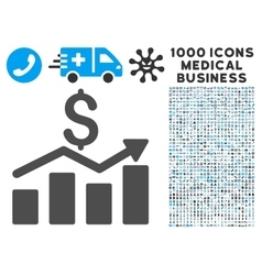 Sales Chart Icon with 1000 Medical Business vector image