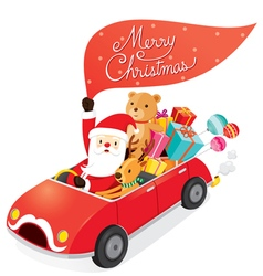Santa Claus Driving Car With Reindeer vector image