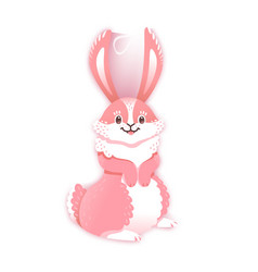 Smiling cartoon rabbit funny bunny cute hare vector