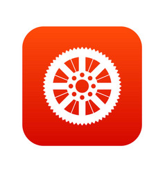 Sprocket from bike icon digital red vector