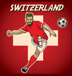 Switzerland soccer player with flag background vector
