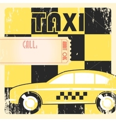 Taxi cab retro poster vector image vector image