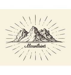 Vintage hand drawn Mountains Sketch vector image vector image