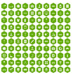 100 development icons hexagon green vector