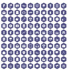 100 marketing icons hexagon purple vector