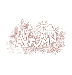 Autumn doodle hand-drawn page vector