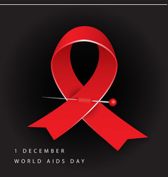 World aids day red awareness realistic ribbon on vector