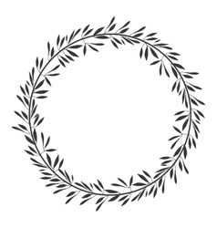 gray scale decorative crown of branch olive vector image