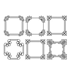 Square asian retro frames set vector