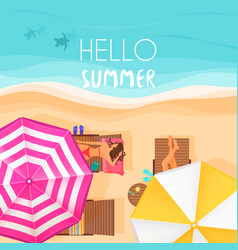 People relaxing by the ocean with hello summer vector