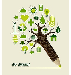 Go green icons pencil tree vector