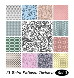13 retro patterns textures set 3 vector