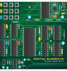 circuit board with microchips vector image