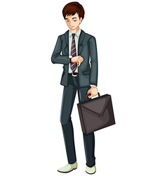 A time conscious businessman vector