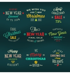 Christmas and New Year Vintage Labels Holiday vector image