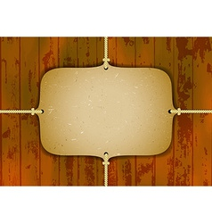 Cardboard frame on the ropes vector image