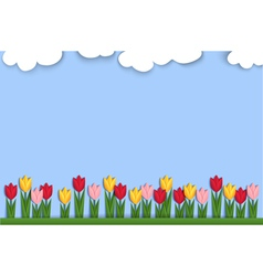 Spring background decorated with paper tulips vector