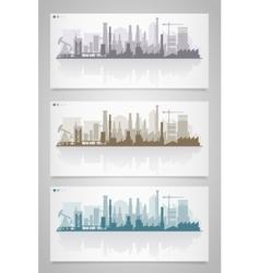 Industrial city skyline sets vector