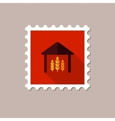 Barn flat stamp with long shadow vector