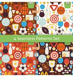 Four flat sport recreation competition patterns vector