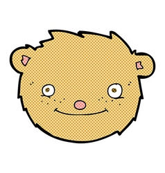 Comic cartoon teddy bear head vector