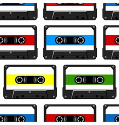 Abstract seamless background with audio cassette vector