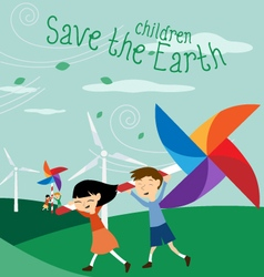 Save the earth - green energy for children vector