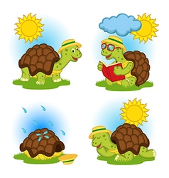 Turtle reading book and hides from rain vector