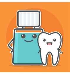 Mouthwash hugs tooth vector